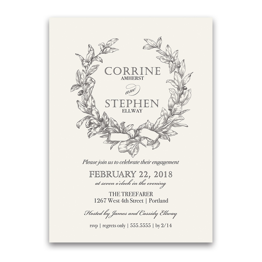 Wreath Engagement Party Invitation Vintage Greenery