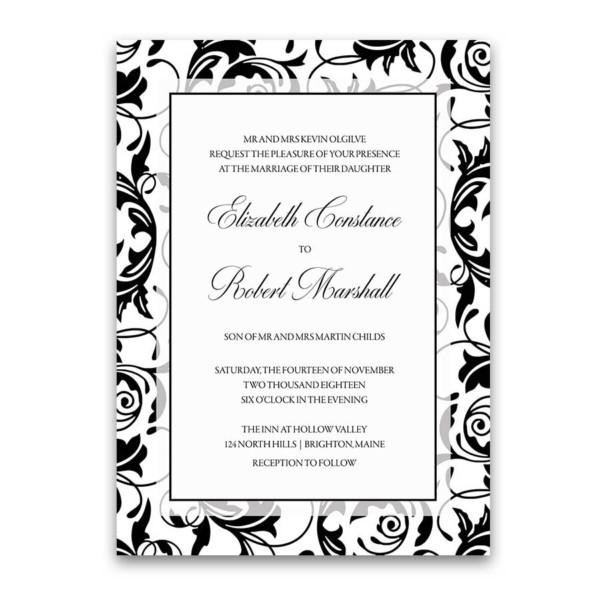 Damask Wedding Invitations Black and White Swirls