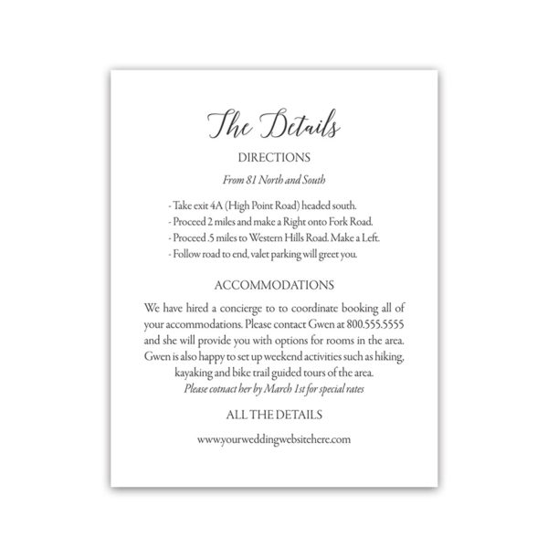 Clic Monogrammed Letterpress Accommodations Card