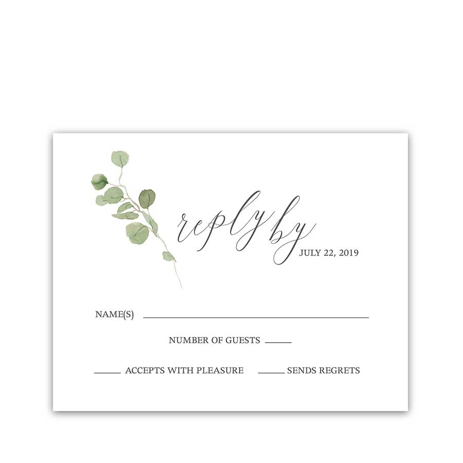 Eucalyptus Wedding Program Watercolor Greenery Design