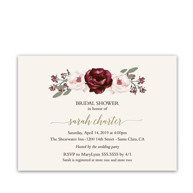 Bridal Shower Invitations Burgundy Wine Blush Fls Gold