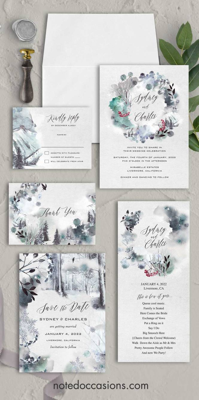 Winter Forest Wedding Invitation With