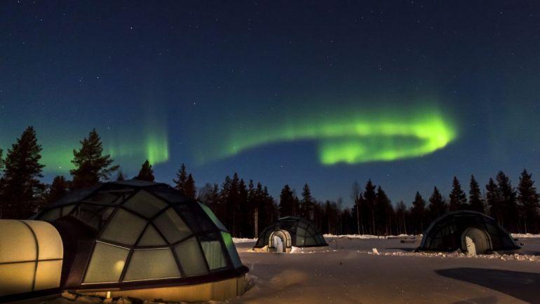 glass igloos and northern lights