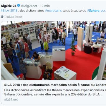 SILA 2018 : des dictionnaires marocains saisis à cause du Sahara occidental parce qu'ils contenaient des cartographies interdites – alg24.net