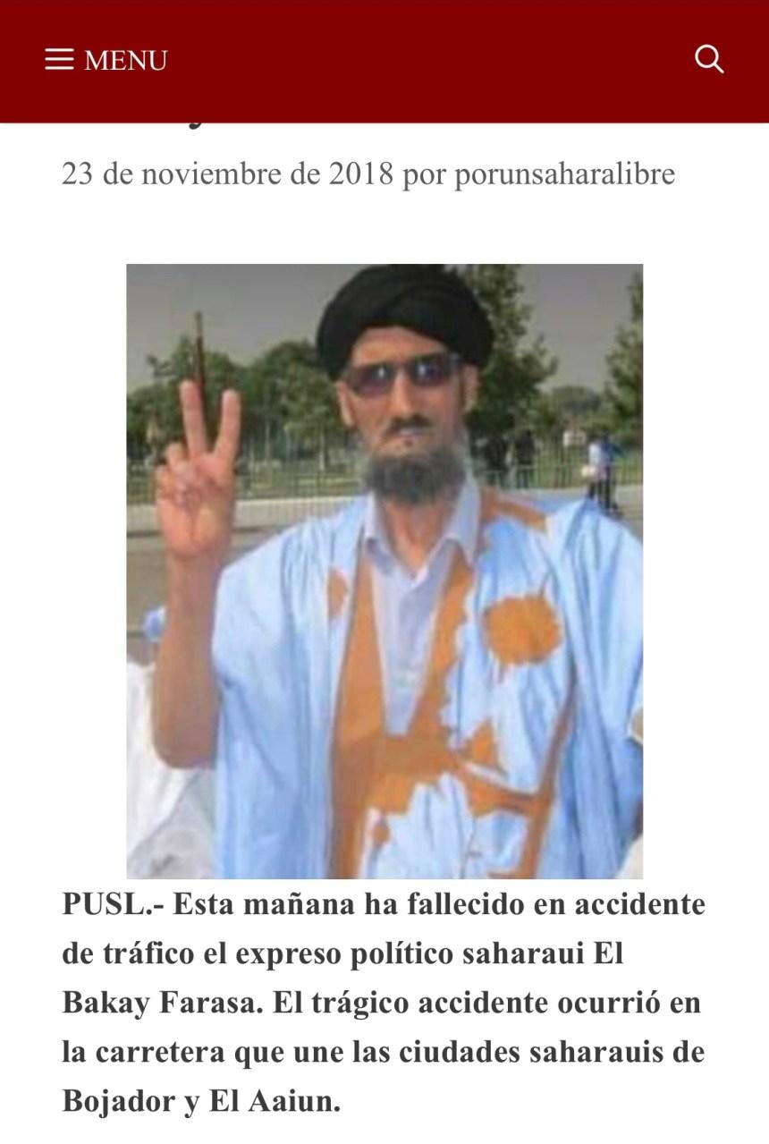 Fallece el expreso político saharaui El Bakay Farasa