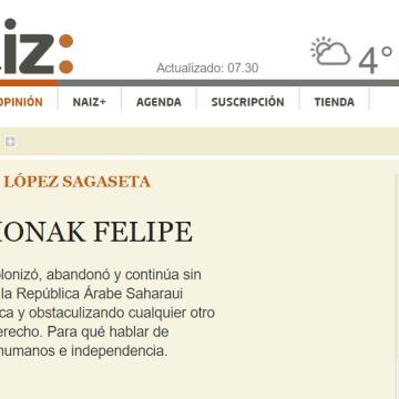 naiz: Iritzia | Opinión – Zorionak Felipe /GEMMA LÓPEZ SAGASETA