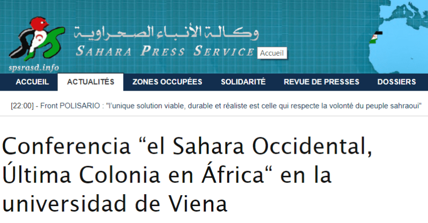 "Conferencia ""el Sahara Occidental, Última Colonia en África"" en la universidad de Viena 