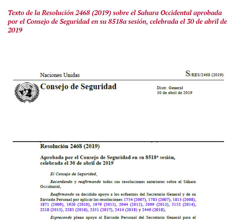 Resolución 2468 (2019) sobre el Sahara Occidental aprobada por el Consejo de Seguridad en su 8518a sesión, celebrada el 30 de abril de 2019