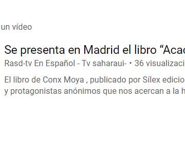 """Se presenta en Madrid el libro """"Acacias del éxodo"""" – Rasd-tv En Español – Tv saharaui-"""