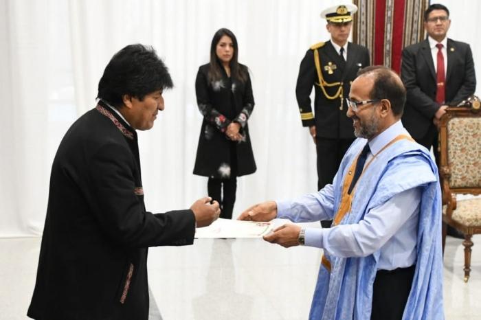 Evo Morales recibe las cartas Credenciales del embajador de la República Árabe Saharaui Democrática | Sahara Press Service