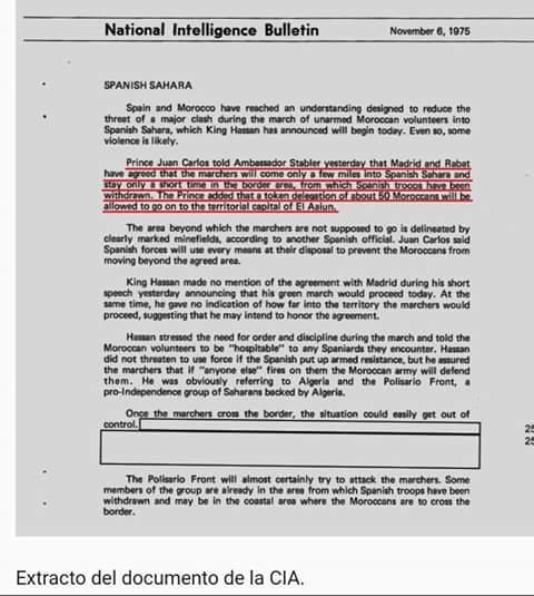 Juan Carlos ordenó al Gobierno de Arias firmar acuerdos con Marruecos para la entrega de la provincia 53 (documento CIA)