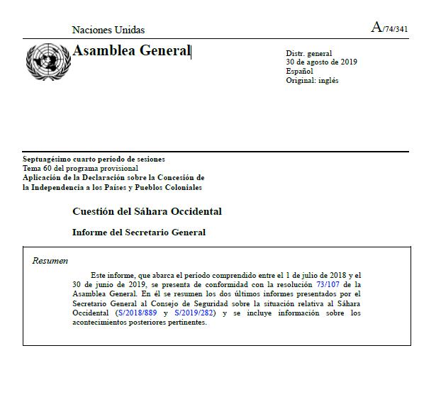 Cuestión del Sáhara Occidental  – Informe del Secretario General  – Resumen – 30 de agosto de 2019