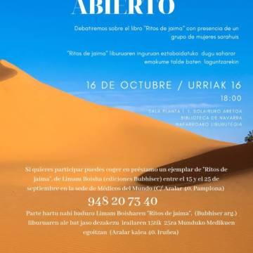 Kabiak y Médicos del Mundo debatirán sobre el libro «Ritos de Jaima» con presencia de un grupo de mujeres saharauis el 16 de Octubre en la Biblioteca de Navarra
