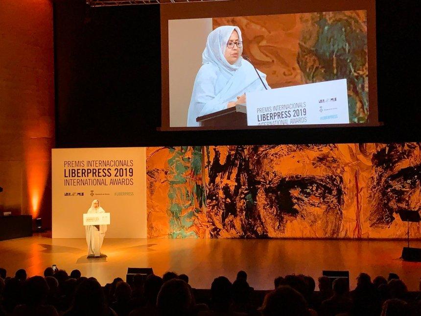 Jira Bulahi Bad levanta el premio LiberPress 2019 en nombre del pueblo saharaui   Sahara Press Service