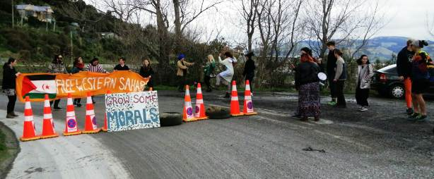 """NZ protesters block road to Ravensdown plant in Dunedin to protest trade in """"blood Phosphate"""" from Western Sahara 
