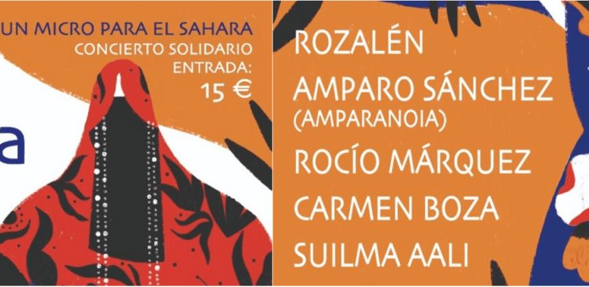 Rozalén, Amparo Sánchez (Amparanoia), Rocío Márquez, Carmen Boza y Suilma Aali se unen para ofrecer un concierto solidario con Un Micro para el Sáhara   Entradas aquí…