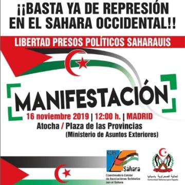 Manifestación en Madrid por un Sahara Libre 16 de noviembre de 2019