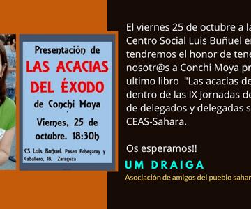 """Presentación del Libro """"Las acacias del éxodo"""" de Conchi Moya – Um Draiga"""
