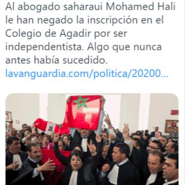 Un colegio de abogados marroquí rechaza a un saharaui por ser independentista