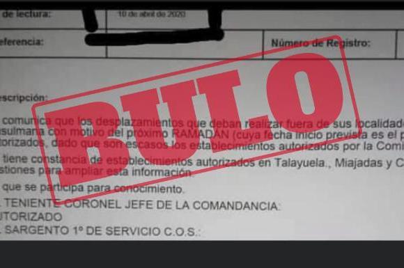 #StopBulos | No están autorizados desplazamientos para reuniones familiares en el ya próximo Ramadán 2020 | Extremadura Hoy