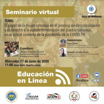 FACSO de la UCE auspicia seminario virtual sobre el papel de la mujer saharaui en el actual contexto de la pandemia de COVID-19 | Sahara Press Service
