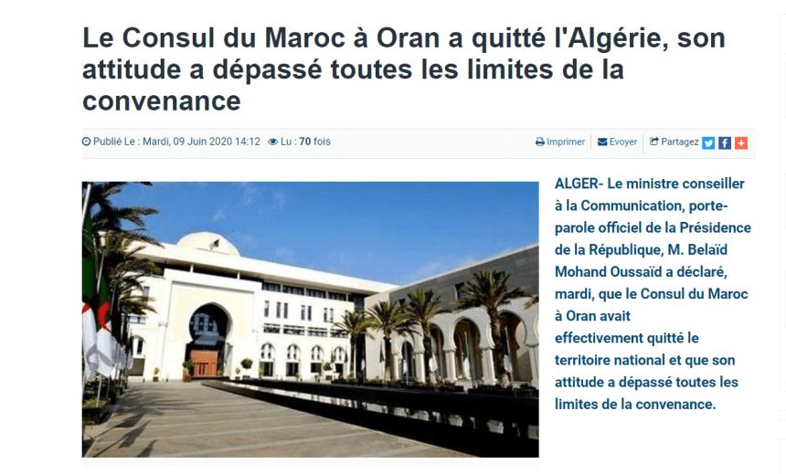 La presidencia de Argelia confirma la salida del país del polémico cónsul marroquí en Orán
