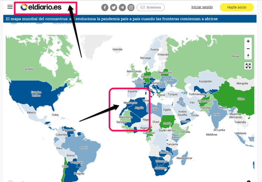 ¡El diario.es @eldiarioes publica mapa mundial del coronavirus no legal con el Sahara Occidental incorporado a Marruecos!