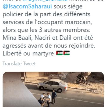Aminatou Haidar denuncia asedio policial de los diversos servicios del ocupante marroquí a Djimi ELGhalia, ella y otros miembros de ISACOM