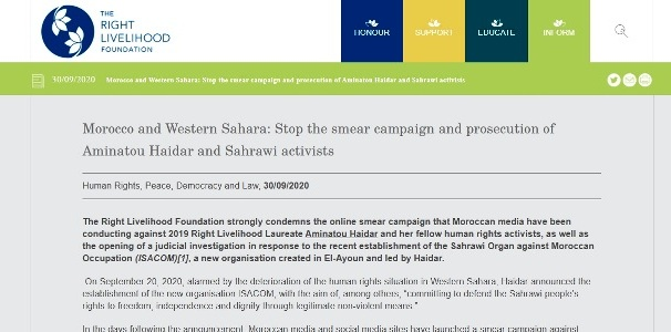 Right Livelihood Foundation: «Stop the smear campaign and prosecution of Aminatou Haidar and Sahrawi activists» | Sahara Press Service
