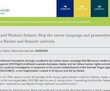 Right Livelihood Foundation: «Stop the smear campaign and prosecution of Aminatou Haidar and Sahrawi activists» | Sahara Press Service
