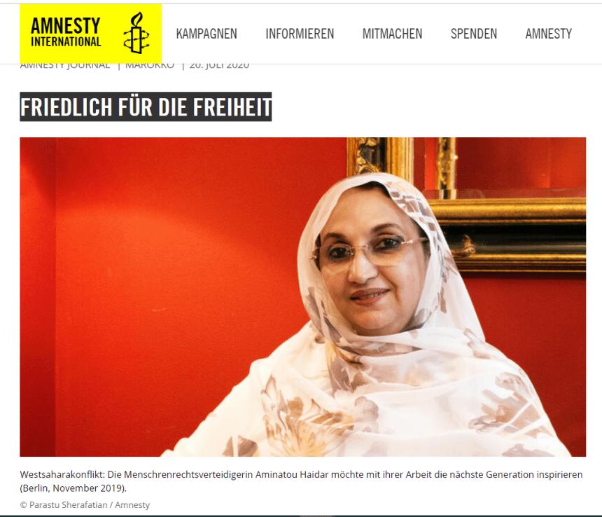 AMINATOU HAIDAR – Pacífica por el futuro y la libertad  Amnesty Journal (en alemán)