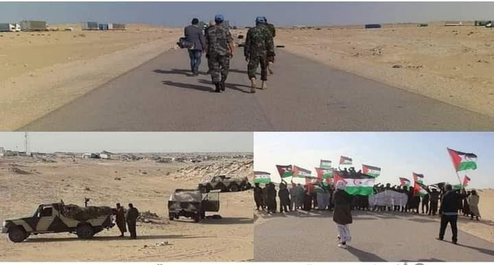 Por undécimo día consecutivo, los manifestantes saharauis continúan su protesta en Guerguerat y Marruecos concentra tropas cerca del muro