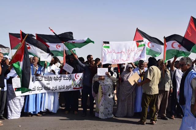 Ciudadanos saharauis marchan en Chahid El Hafed en solidaridad y apoyo a las protestas en El Garguerat | Sahara Press Service