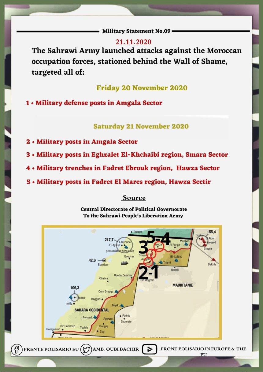 Continúan los bombardeos y ataques a las fuerzas enemigas a lo largo del muro militar marroquí | Sahara Press Service