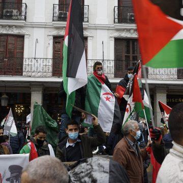 Manifestaciones para denunciar la posición de España y su complicidad con el régimen de Ocupación marroquí en el #SaharaOccidental