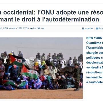 Sahara occidental: l'ONU adopte une résolution réaffirmant le droit à l'autodétermination