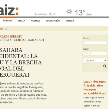 El Sahara Occidental: la ONU y la brecha ilegal del Guerguerat –naiz: Iritzia | Opinión por Ali Salem Iselmu