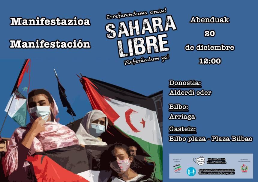 Manifestaciones en las tres capitales vascas en favor del pueblo saharaui | HOY DOMINGO 20 de diciembre – 12:00h