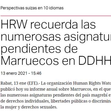 HRW recuerda las numerosas asignaturas pendientes de Marruecos en DDHH –swissinfo