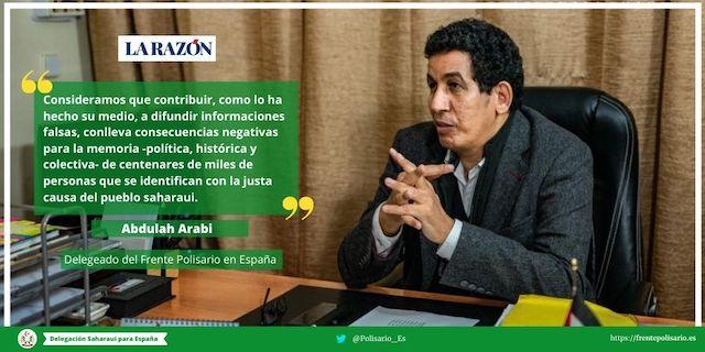 Respuesta de Abdulah Arabi al diario español La Razón –Delegación del Frente Polisario para España