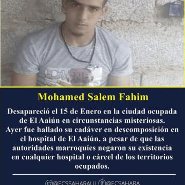 AFAPREDESA condena enérgicamente la desaparición forzada y el asesinato del joven saharaui Mohamed Salem Fahmi por parte del ocupante marroquí