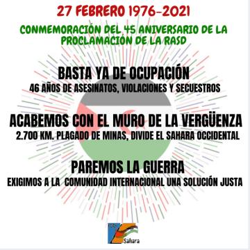 27 de Febrero: El Estado saharaui celebra 45 años de resistencia, dignidad y lucha por la independencia | CEAS-Sahara