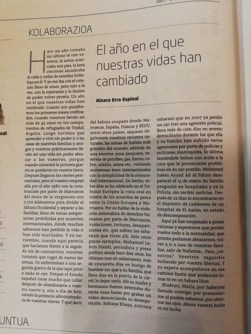 El año en el que nuestras vidas han cambiado, porAinara Erro Espinal | Iritzia | GARA Euskal Herriko egunkaria