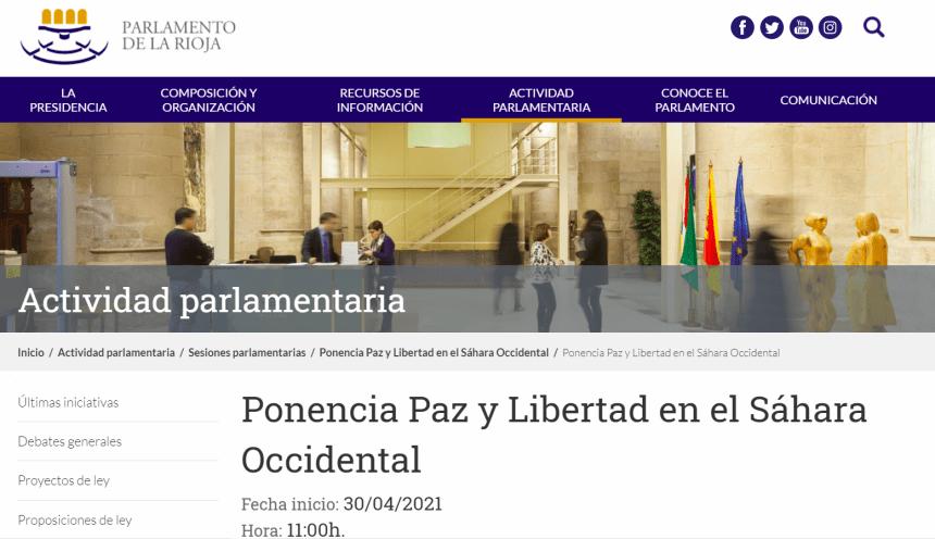"""Prevista la celebración EN LA RIOJA esta próxima semana de la XV Conferencia de Intergrupos """"Paz y Libertad para el Pueblo Saharaui"""""""