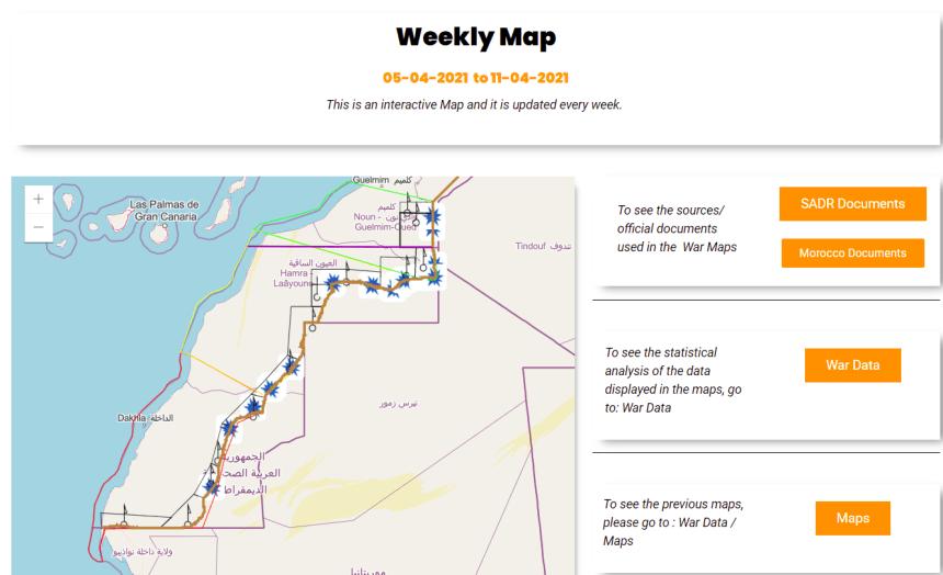 Western Sahara War Archive (WSWA) tiene como objetivo informar y organizar datos semanalmente sobre la última etapa de la última guerra colonial en África, que comenzó el 13 de noviembre de 2020 en el Sáhara Occidental