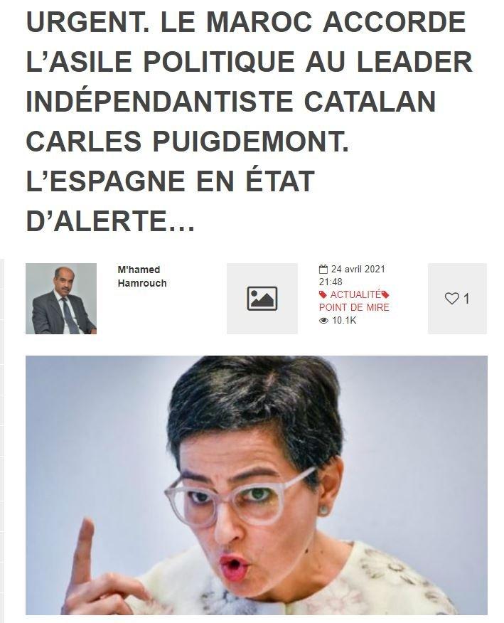 Dos medios marroquíes, considerados próximos al ministerio del Interior y a los servicios de inteligencia, han publicado «en broma» la falsa noticia de que «Marruecos concede asilo político a Puigdemont»