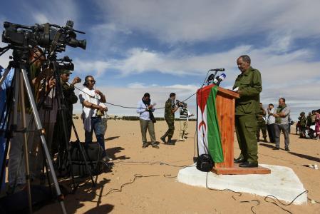 Mohamed Abdelaziz durante su discurso de conmemoración del cuadragésimo aniversario de la República Árabe Saharaui Democrática