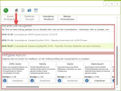 Neue Startseite: Aktuelle Meldungen zum CorpusExplorer und direkt installierbare Add-ons.