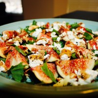 Fresh Figs, Pecan, Basil  and Goat Cheese Salad