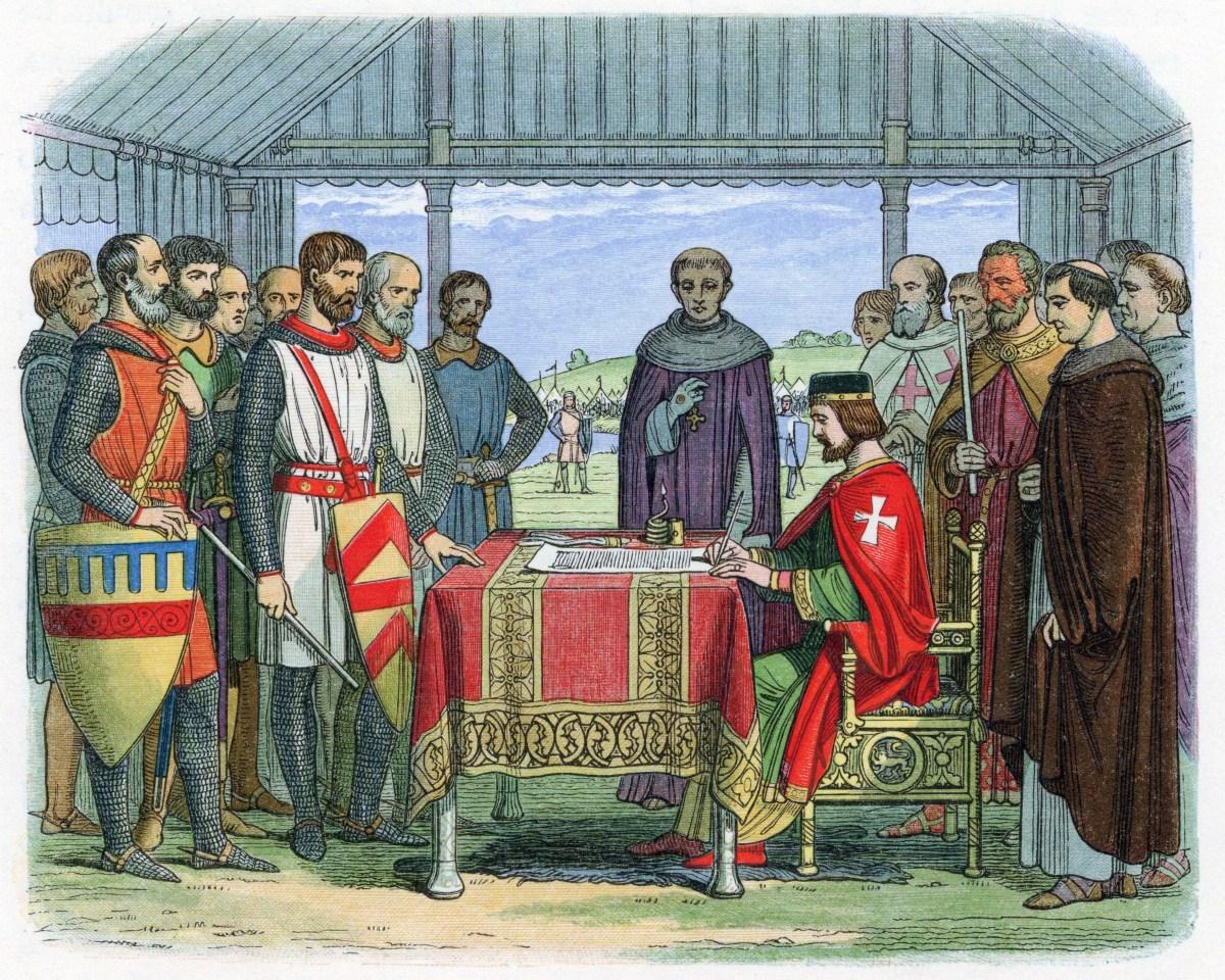Le 15 juin 1215 à Runnymede, Angleterre, le roi Jean appose son sceau sur la Magna Carta